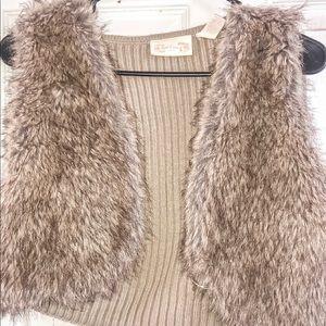 faux fur cropped cardigan